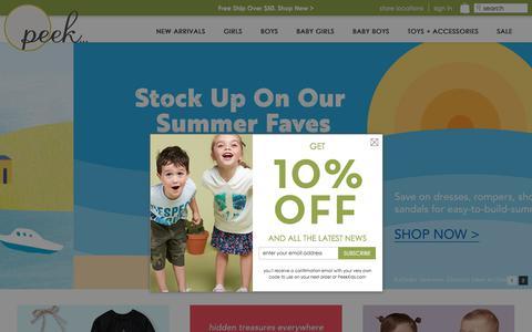 Screenshot of Home Page peekkids.com - Peek Designer Kids Clothing   Peek Kids Clothing - captured July 16, 2018