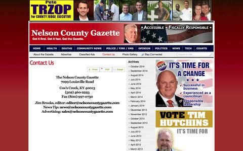 Screenshot of Contact Page nelsoncountygazette.com - Contact Us | Nelson County Gazette - captured Oct. 26, 2014