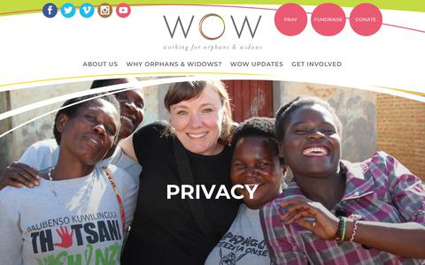 Screenshot of Privacy Page wowmission.com - Privacy - WOW Mission - captured Nov. 7, 2017