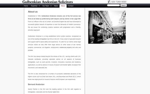 Screenshot of About Page gulbenkian.co.uk - About us | Gulbenkian Andonian Solicitors - captured Oct. 3, 2014