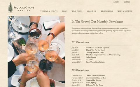 Screenshot of Press Page sequoiagrove.com - Sequoia Grove Winery - News From Napa Valley - captured Nov. 3, 2019