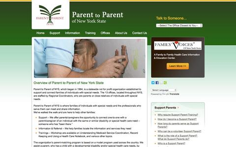 Screenshot of About Page parenttoparentnys.org - Parent to Parent of New York State - captured June 20, 2016