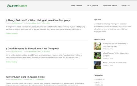 Screenshot of Blog lawnstarter.com - LawnStarter Lawn Care Blog - captured Oct. 28, 2014