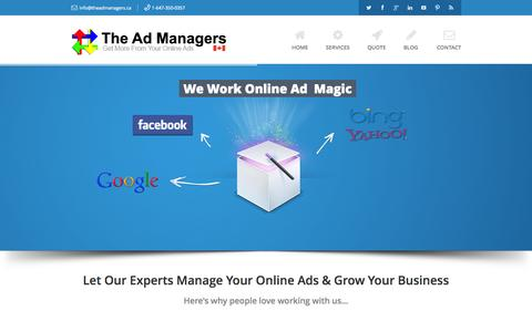 Screenshot of Home Page theadmanagers.ca - Online Ad Management by The Ad Managers Inc. - captured Oct. 9, 2014