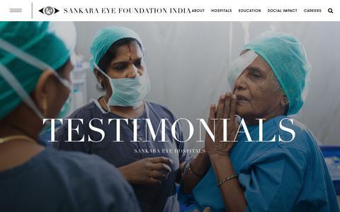 Screenshot of Testimonials Page sankaraeye.com - Testimonials - Sankara Eye - captured Oct. 2, 2018