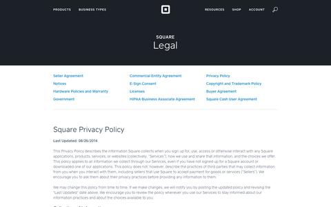 Screenshot of Privacy Page squareup.com - Square Privacy Policy - captured Feb. 27, 2016