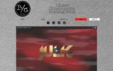 Screenshot of Home Page beatcreep.com - Beat Creep Clothing - captured Oct. 5, 2014