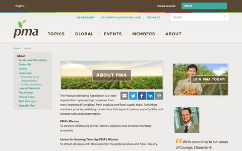 Screenshot of About Page pma.com - About PMA | Produce Marketing Association | About - captured Oct. 30, 2016