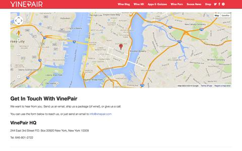 Screenshot of Contact Page vinepair.com - Get In Touch With VinePair | Contact Us - captured Oct. 26, 2014