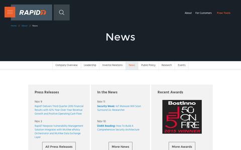 Screenshot of Press Page rapid7.com - Latest Buzz   Rapid7 - captured Nov. 24, 2016