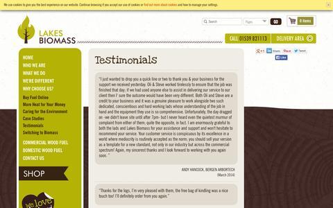 Screenshot of Testimonials Page lakesbiomass.com - Testimonials | Why Choose Us? | Lakes Biomass Ltd - captured Oct. 2, 2014