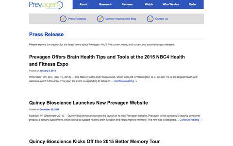 Screenshot of Press Page prevagen.com - Press Release Archives - Prevagen - captured Oct. 27, 2015
