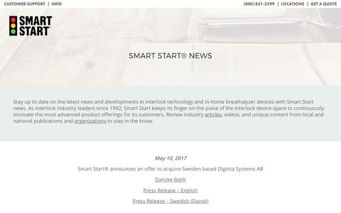 Screenshot of Press Page smartstartinc.com - Smart Start News | The Leader in Alcohol Monitoring Technology - captured Nov. 3, 2017