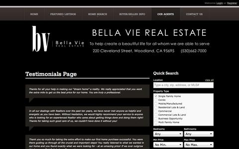 Screenshot of Testimonials Page bellavierealestate.com - Testimonials Page | Bella Vie Real Estate - Homes to Buy and Homes for Sale in the Yolo & Colusa County Community - captured Aug. 1, 2018