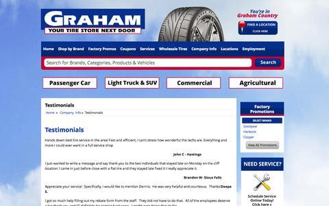 Screenshot of Testimonials Page grahamtire.com - Testimonials Graham Tire - captured Oct. 8, 2014