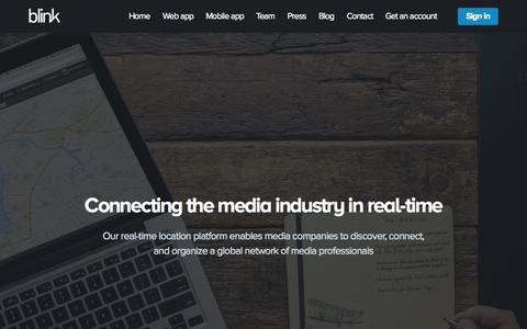 Screenshot of Home Page blink.la - Blink - Connecting the media industry in real-time - captured Sept. 4, 2015