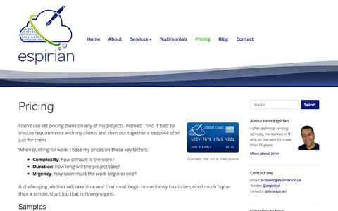 Screenshot of Pricing Page espirian.co.uk - Pricing – Espirian – Technical writing - captured Nov. 2, 2014