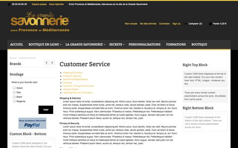 Screenshot of Support Page lagrandesavonnerie.fr - Customer Service - captured Sept. 26, 2014