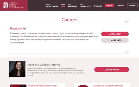 Screenshot of Jobs Page nationalbreastcancer.org - Careers - National Breast Cancer Foundation - captured Sept. 22, 2018