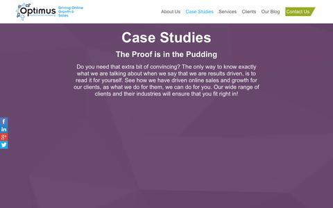 Screenshot of Case Studies Page optimus-pm.com - Case Studies | Optimus Performance Marketing | Digital Agency - captured Feb. 13, 2016