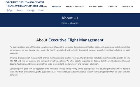 Screenshot of About Page Team Page executiveflightmgmt.com - Executive Flight Management |   About Us - captured Sept. 30, 2018