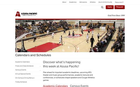 Calendars and Schedules - Azusa Pacific University