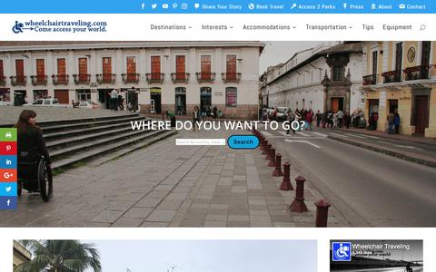 Screenshot of Home Page wheelchairtraveling.com - Accessible Travel Info - Trip Ideas & Travel Advice - Wheelchair Traveling - captured Sept. 24, 2018