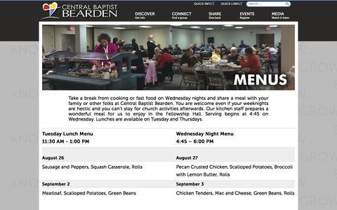 Screenshot of Menu Page cbcbearden.org - CBB - Menus - captured Oct. 2, 2014