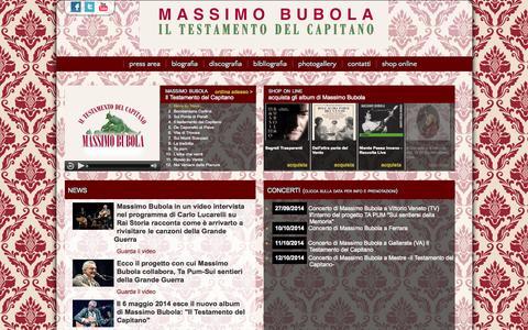 Screenshot of Home Page massimobubola.it - Home page - Massimo Bubola - sito ufficiale - captured Sept. 23, 2014