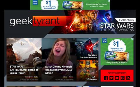 Screenshot of Home Page geektyrant.com - GeekTyrant – Geek Movie and Entertainment News - captured Nov. 3, 2015