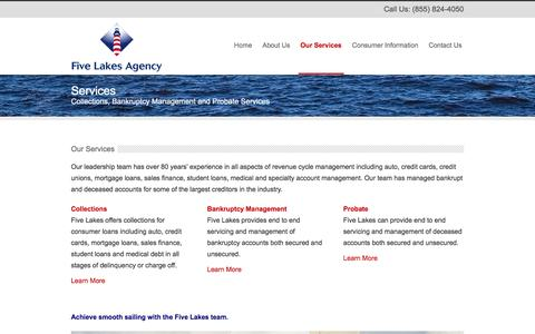 Screenshot of Services Page fivelakesagency.com - Our Services - Five Lakes Agency - captured Feb. 10, 2016