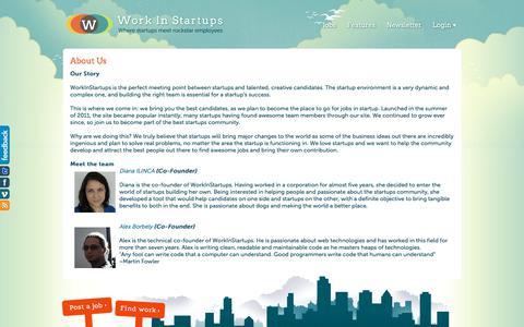 Screenshot of About Page workinstartups.com - WorkInStartups - Work In Startups - captured Feb. 14, 2018