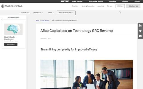 Screenshot of Case Studies Page saiglobal.com - Aflac Capitalises on Technology GRC Revamp - captured Dec. 12, 2019