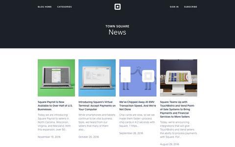 Screenshot of Press Page squareup.com - News | Town Square - captured Dec. 17, 2016