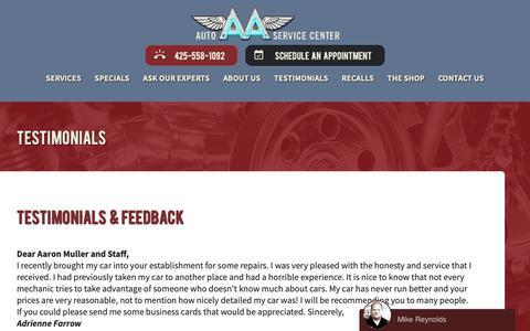 Screenshot of Testimonials Page aaautoservicecenter.com - Redmond Auto Repair Servicing - Testimonials - captured Jan. 20, 2019