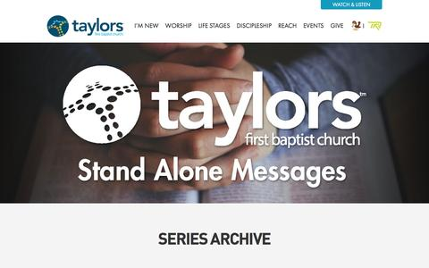 Screenshot of Services Page taylorsfbc.org - Sermons Archive - Taylors First Baptist Church - captured Dec. 3, 2016