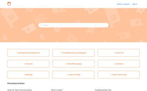 Screenshot of Support Page voxer.com - Voxer Support - captured Dec. 28, 2017