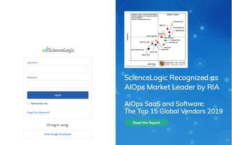 Screenshot of Login Page sciencelogic.com - Login | ScienceLogic Community - captured Aug. 20, 2019