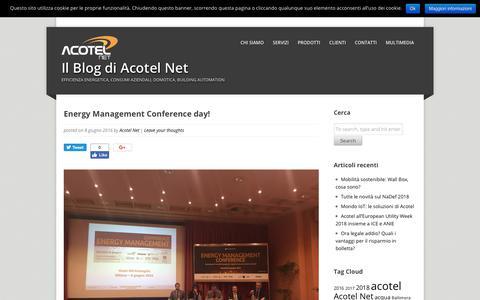 Screenshot of Blog acotelnet.com - Energy Management Conference day! - Il Blog di Acotel Net - captured Nov. 6, 2018