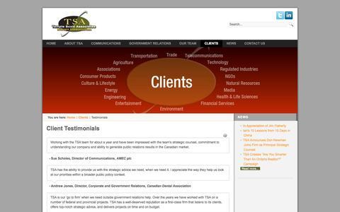 Screenshot of Testimonials Page tsa.ca - Client Testimonials - captured Oct. 26, 2014