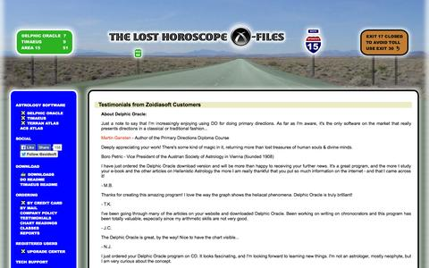 Screenshot of Testimonials Page astrology-x-files.com - Testimonials from Zoidiasoft Customers - captured Nov. 4, 2014