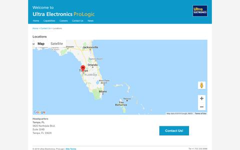 Screenshot of Locations Page ultra-prologic.com - Locations - Ultra Electronics, ProLogic - captured Oct. 2, 2018