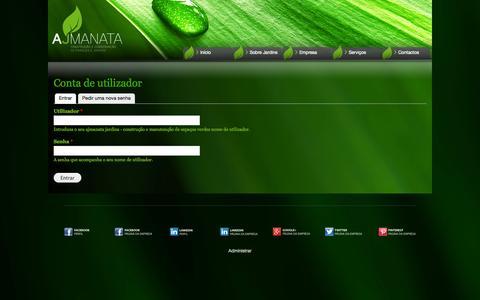 Screenshot of Login Page ajmanatajardins.com - Conta de utilizador   ajmanata jardins - construção e manutenção de espaços verdes - captured Sept. 30, 2014