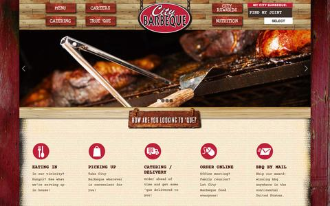Screenshot of Home Page Contact Page Menu Page Locations Page citybbq.com - City Barbeque the Best Barbeque in the City - captured Oct. 2, 2014
