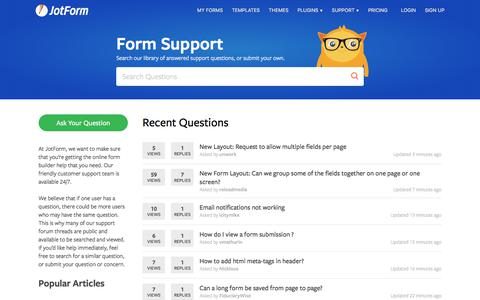 Screenshot of Support Page jotform.com - Form Support | JotForm Online Form Builder - captured Sept. 16, 2017