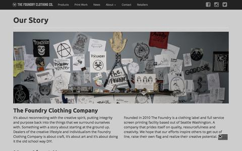 Screenshot of About Page thefoundryclothing.com - About - captured Oct. 9, 2014