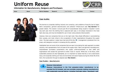 Screenshot of Case Studies Page uniformreuse.co.uk - Case studies highlighting the difficulties and successes companies have faced in reusing and remanufacturing uniform fabrics - captured Sept. 30, 2014