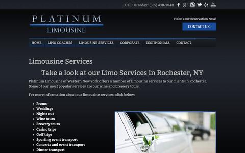 Screenshot of Services Page platinumlimousinewny.com - Limousine Services | Platinum Limousine - captured Sept. 28, 2018