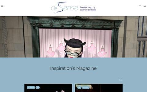 Screenshot of Home Page allsenseinspire.com - All Sense   boutique agency & inspiration's magazine   contato@allsense.com.br - captured Feb. 5, 2016