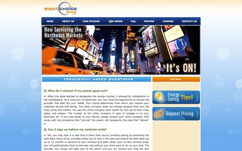 Screenshot of FAQ Page rightchoiceenergy.net - Right Choice Energy - captured Oct. 26, 2014